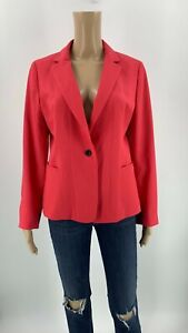 Ann-Taylor-Women-s-Blazer-Jacket-Tan-Size-10P-Coral-Pink-Stretch-Career-D4