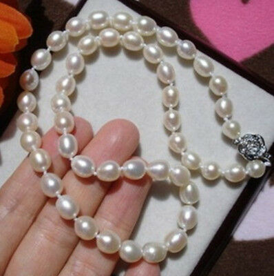 100% natural 7-8MM AAA WHITE FRESHWATER RICE PEARL NECKLACE 17""