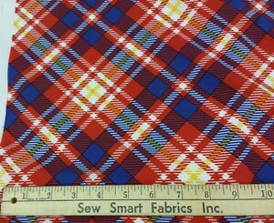 Lightweight-Polyester-Crepe-White-Red-Yellow-Blue-Plaid-45-034-w-3-yd-Pc