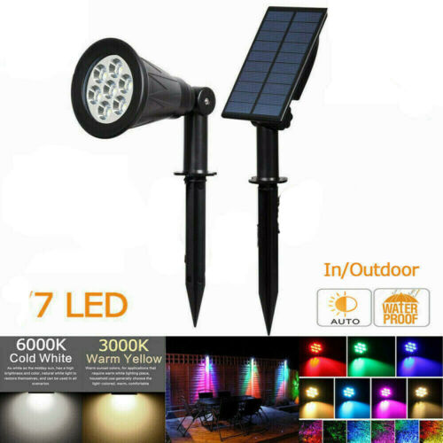 18 LED Solar Spot Light Color Changing Wall Outdoor Garden Yard Lamp Waterproof