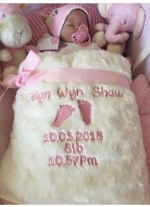 PERSONALISED BABY  BLANKET  FLUFFY ROSE BUD PINK OR BLUE GIFT WRAP