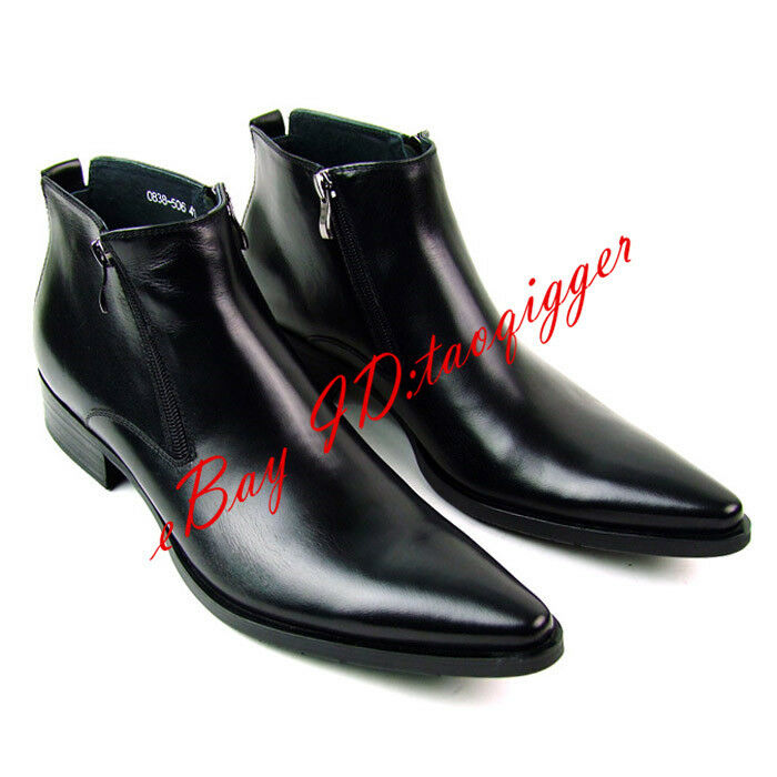 Hombres Puntera en Punta Botas al Tobillo Con Elegante Cremallera Cuero Fresco Elegante Con Oxford Zapatos transpirables cd0b52