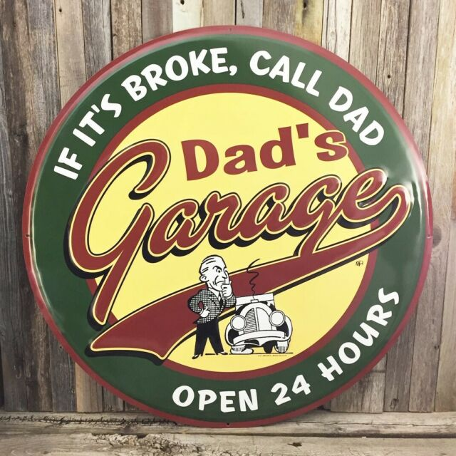 "Dad's Garage Open 24 Hours 24"" Metal Tin Sign Garage Shop"