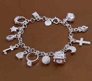 13-Anhaenger-Silber-Armband-Bettelarmband-Zirkonia-Geschenk-SCHONHEIT-U5N1
