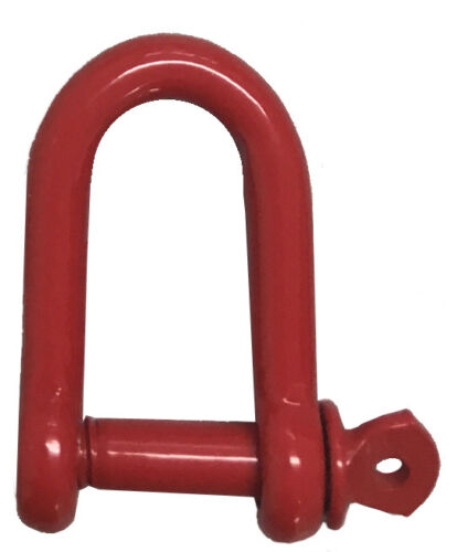 Red Epoxy Coated Steel Dee Shackles for Chain Barrier Systems