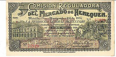 2019 Nuevo Estilo Mexico Banknote Comision Reguladora Del Mercado De Henequen 20 S1124a 1914 Aunc