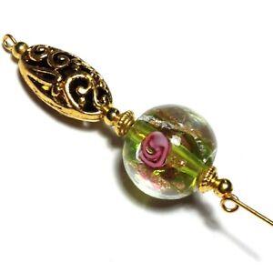Nuevo-Oro-Pin-de-Sombrero-Verde-Rosa-Cuenta-Antiguo-Vintage-Estilo-12-7cm