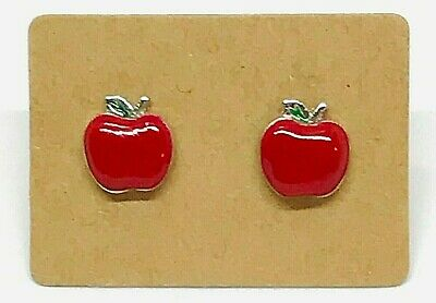 Small Stainless Steel Apple Stud Earrings