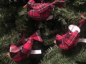 Multiples Red Plaid Tartan Fabric Stuffed Bird Christmas Ornaments Tii Ebay