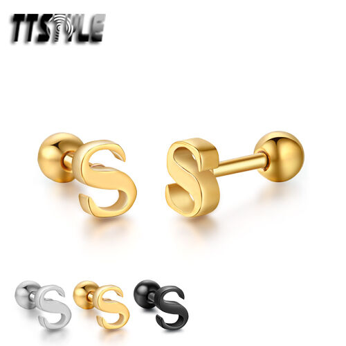 TTstyle Surgical Steel Letter S Fake Ear Cartilage Tragus Earrings 3 Colors NEW
