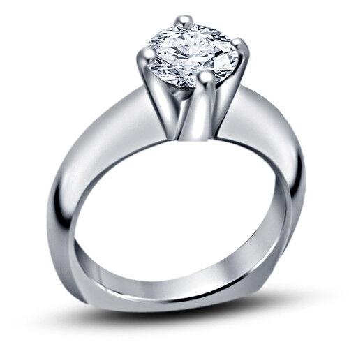 Women's Engagement Wedding Ring 1.10 CT Round Diamond 14K White Gold Over
