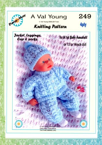 DOLLS KNITTING PATTERN  for 1st Baby Annabell 13 //14 inch Doll 249 by Daisy May