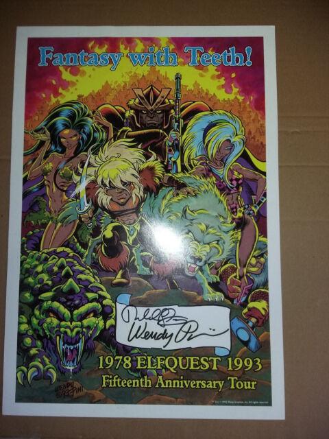 Poster Elfquest 1993 15th Anniversary Tour - signé Wendy & Richard Pini - TBE