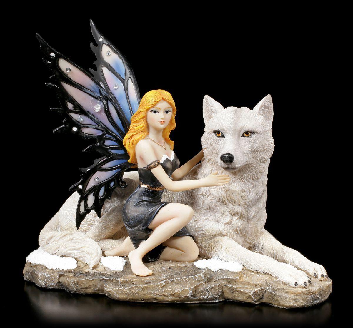 Figura Elfos - Anhia con blancoa Lobo - Fantasy Hada Estatua Decoración