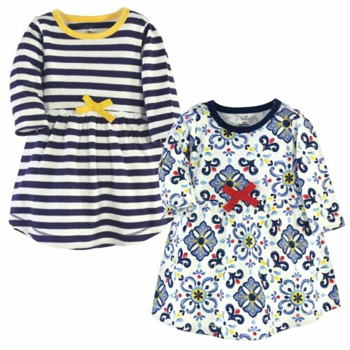 Pottery Tile Long Sleeve Touched By Nature Girl Toddler Organic Cotton Dresses