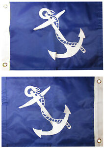 """12x18 Past Commodore Blue 12/""""x18/"""" Double Sided Nylon Embroidered Flag Grommets"""