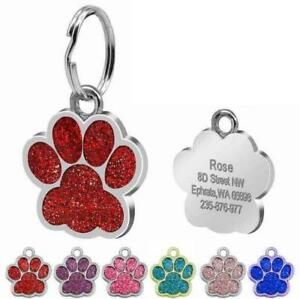 PAW-Pet-Dog-Tags-Glitter-Personalised-Cat-Puppy-ID-Tag-Collar-Tags-Engraved-Fre