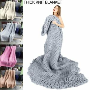 Large-Soft-Warm-Handmade-Chunky-Knit-Blanket-Thick-Line-Yarn-Bulky-Knitted-Throw