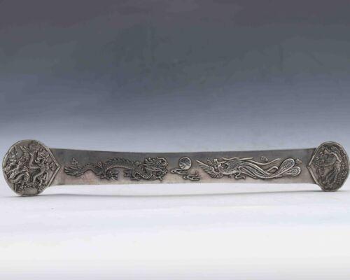 Tibet Tibetan Hand-Carved copper silvering Dragon /& Pheonix RUYI statue A Pair