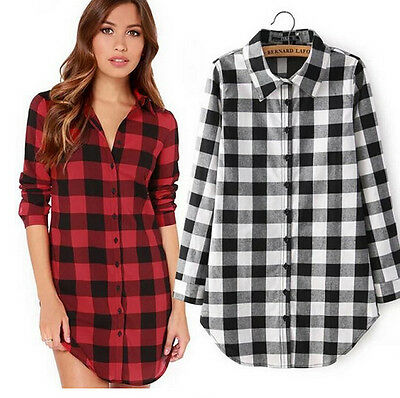 New Women Long Sleeve Plaid Casual Summer Cocktail Party Shirt