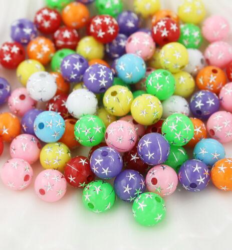 BD1581 100 Sparkle Beads Assorted Rainbow Colors Metallic Star Acrylic 8mm