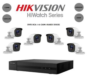 KIT TELECAMERE VIDEOSORVEGLIANZA DVR 8 CH+6 TELECAMERE HIKVISION 1080P DVR 2MPX