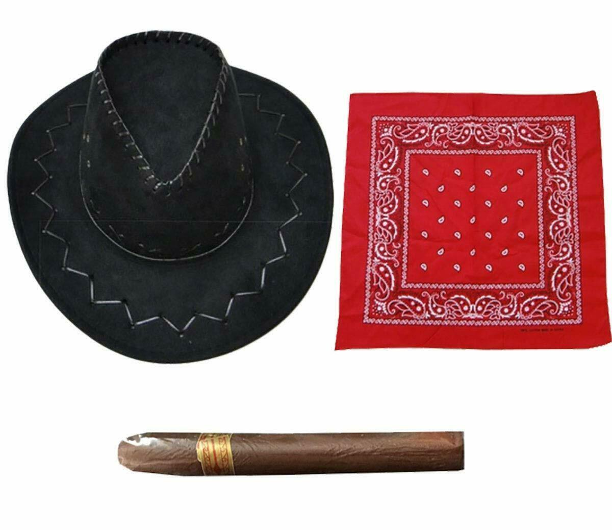 Mens Western Rancher Dress Accessory Cowboy Hat Fake Cigar Paisley Bandana Set