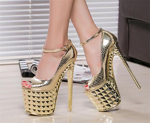 "WOmen/'s 8/"" Extreme High Stiletto Heels Platform Gold Open Toe Sandals Club shoes"