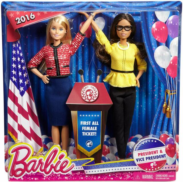 Barbie President /& Vice President Dolls 2 Pack 2016 First All Female Ticket NEW!