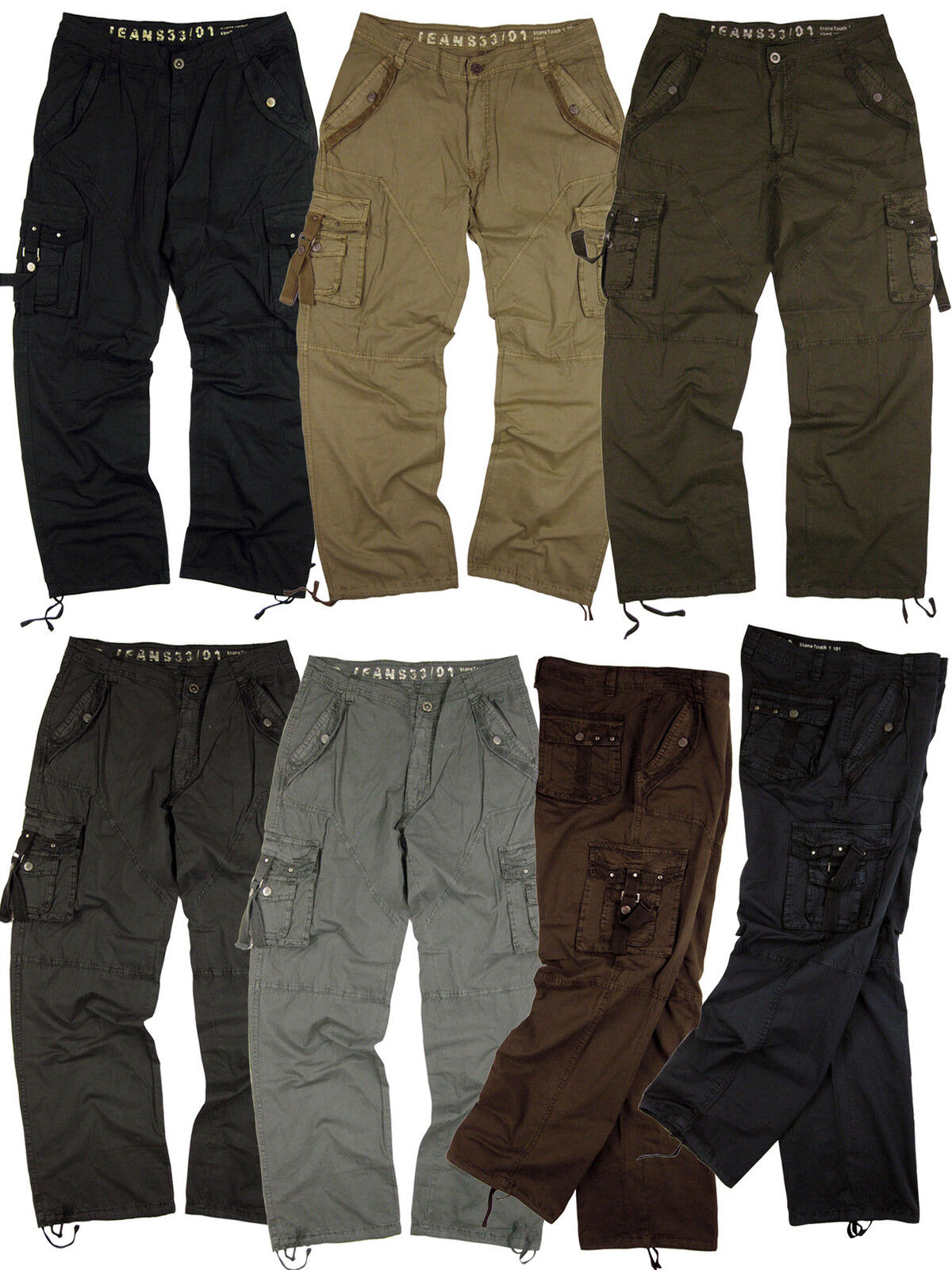 Mens Lightweight Military-Style Cargo Pants Sizes 32 to 46  A8