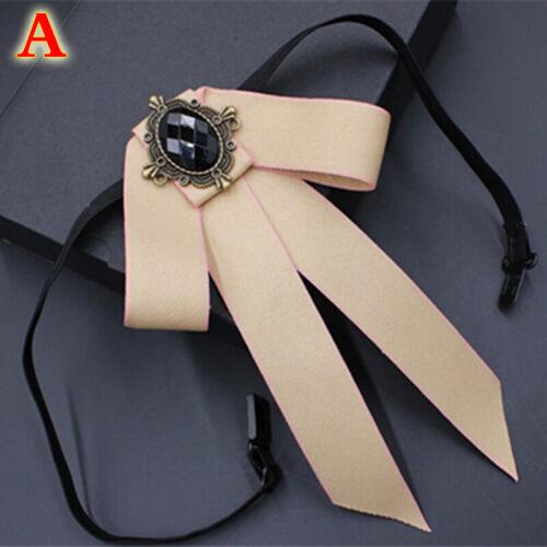 Men Women Vintage Ribbon Fancy Dress Wedding Pre Tied Necktie Bow Tie Brooch