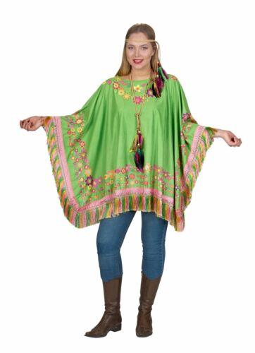Kostüm grüner Poncho m Fransen Flower Power Gärtner Hippie Wildlederoptik 70er