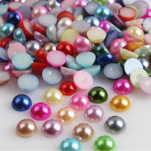 2000pcs//Lot Half Round Bead Flat Back Acrylic Pearl Scrapbooking Embellishment