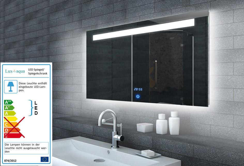 LED Badezimmerspiegel Badspiegel Wandspiegel Lichtspiegel Uhr   Touchschalter ML