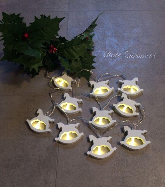 Led Lichterkette Schaukelpferd Batterie Sterne warmweiß Advent Weihnachten Pferd