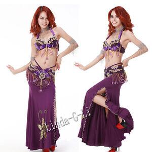 2-Pics-New-Belly-Dance-Costume-Set-Bra-amp-Belt-US34B-36B-38B-US40D-12-2-3