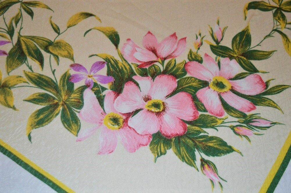 GRAND BODACIOUS SPRING GARDEN BLOOMS & LILY VINES  VTG GERMAN PRINT TABLECLOTH