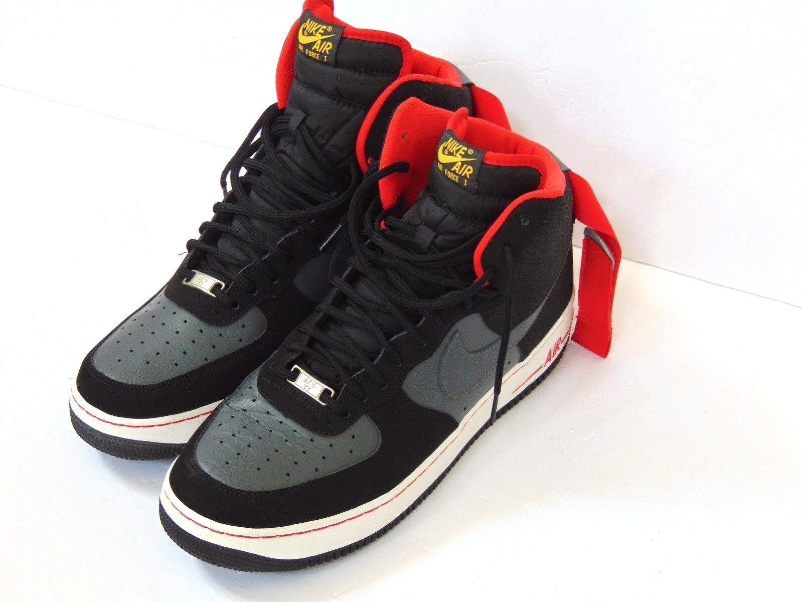 NWOB Nike 315121 015 Air Force 1 Black / Grey / Red Men's Basketball Shoes sz 12