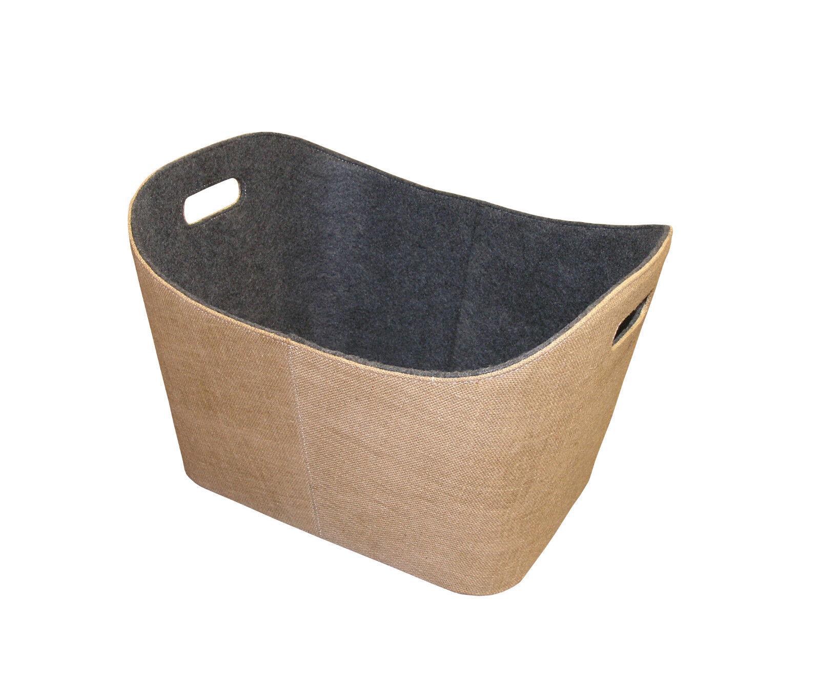 in vendita online Iuta-Feltro cesta Cesto Cesto Cesto in legno naturale con cuciture a BIANCA B H T - 55 35 40cm  nuova esclusiva di fascia alta