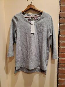 Chicos-Zenergy-Size-1-Womens-Grey-Reversible-Print-Sweater-Tshirt-3-4-Sleeve
