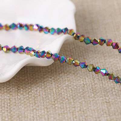 Metallic Faceted Glass Crystal Bicone Loose Spacer Charms Beads Finding 4/6/8mm