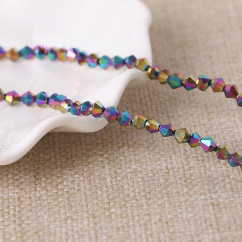 Métallique à facettes verre cristal Bobine biconique Loose Spacer Charms Beads Making 4//6//8mm