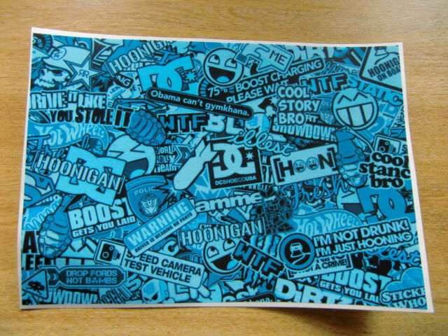 Sticker Bomb sheet 3f - Blue - A4 size