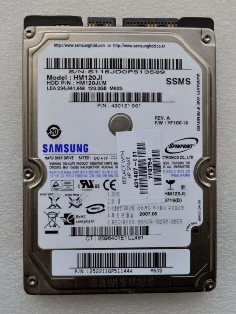 "Samsung Spinpoint M60S HM120JI 120GB Internal 5400RPM 2.5"" (HM120JI) HDD"