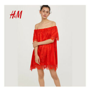 23bf71da00dd H&M Womens Lace Scallop Red Off Shoulder Dress BNWT Size UK 6 | eBay