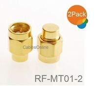 2-pack Sma Male 50-ohm Coaxial Termination Load, Brass Gold Plated , Rf-mt01-2