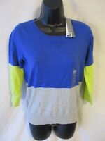 J.c.penney Cotton Blend Size S Blue Blocked Casual Long Sleeve Knit Top