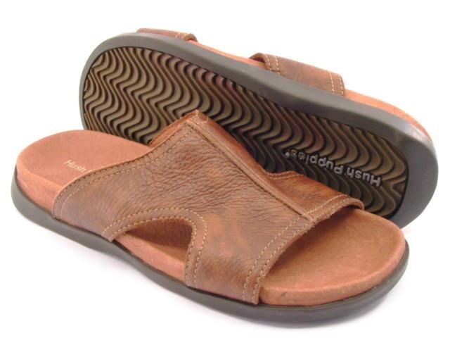 Nuevo Hush Puppies Hombre Cuero Sandalia cómoda diapositiva plana resbalón en el zapato talla 7 M