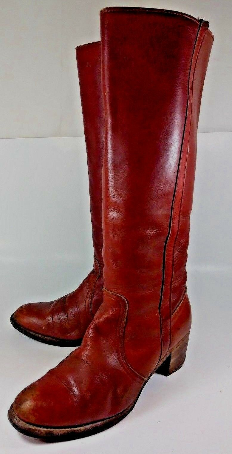 Frye Wos Boots 8N15307 US 9 B Reddish Brown Leather Pull On Tall Riding 2417