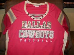 promo code f4326 633e2 Details about NFL Dallas Cowboys Sparkle Bling Sequins Pink Fitted Jersey  Shirt Women's Medium